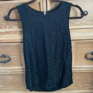 LOFT Top, Black, Lace Overlay Front, Size XS
